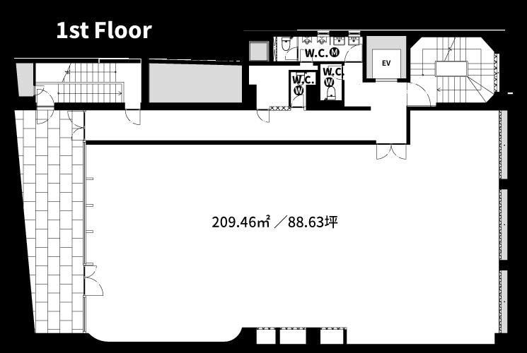 渋谷の賃貸オフィス・賃貸事務所「ASIA BUILDING」1F図面