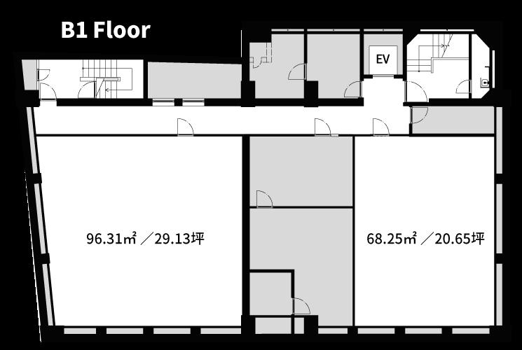 渋谷の賃貸オフィス・賃貸事務所「ASIA BUILDING」B1F図面